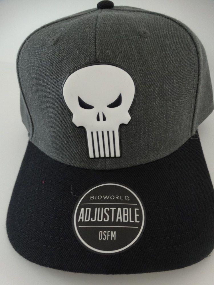 02d57b33904 ... Black Cap Adjustable For Fan Gift  amazing selection 5923e 73e9a  Punisher Skull Logo Marvel Comics Snap Back Curved Bill Hat Nwt Marvel ...