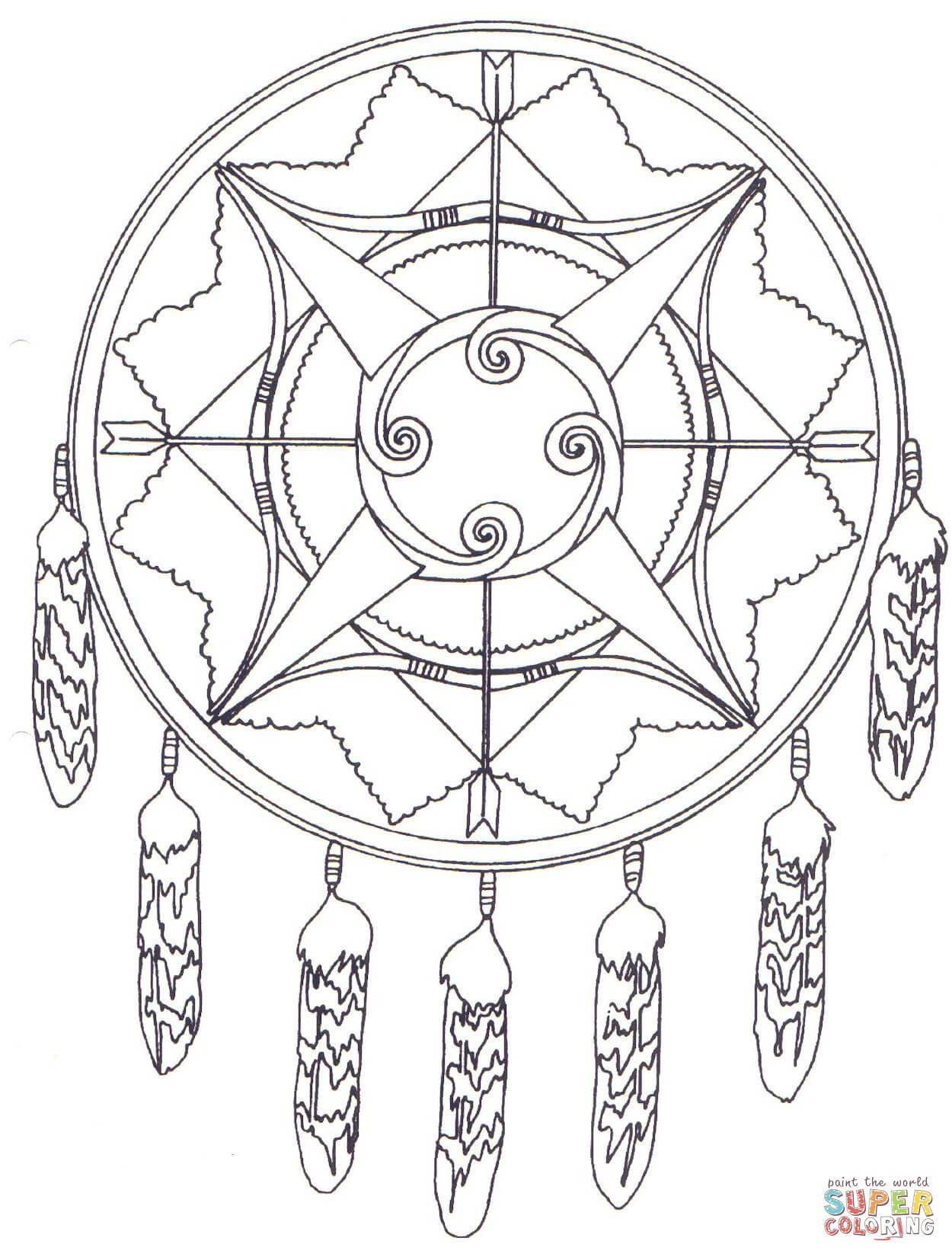 Uncategorized Native American Coloring Pages Free native american mandala with bows and arrows coloring pages jpg page from mandalas category