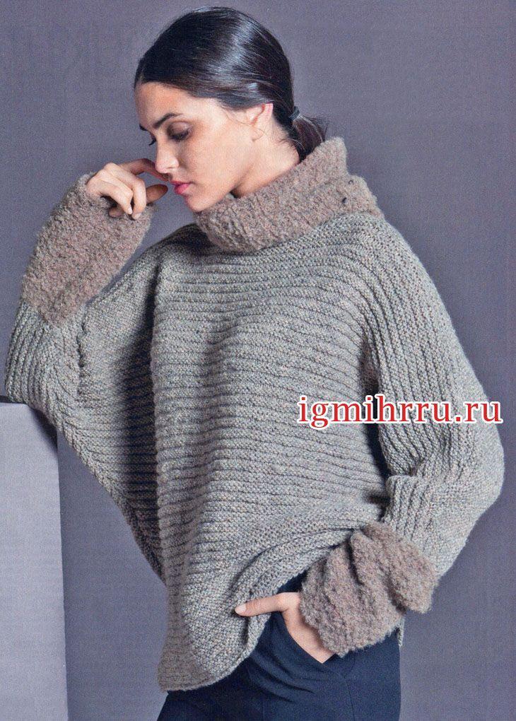 просторный шерстяной свитер с воротником и манжетами из мини букле