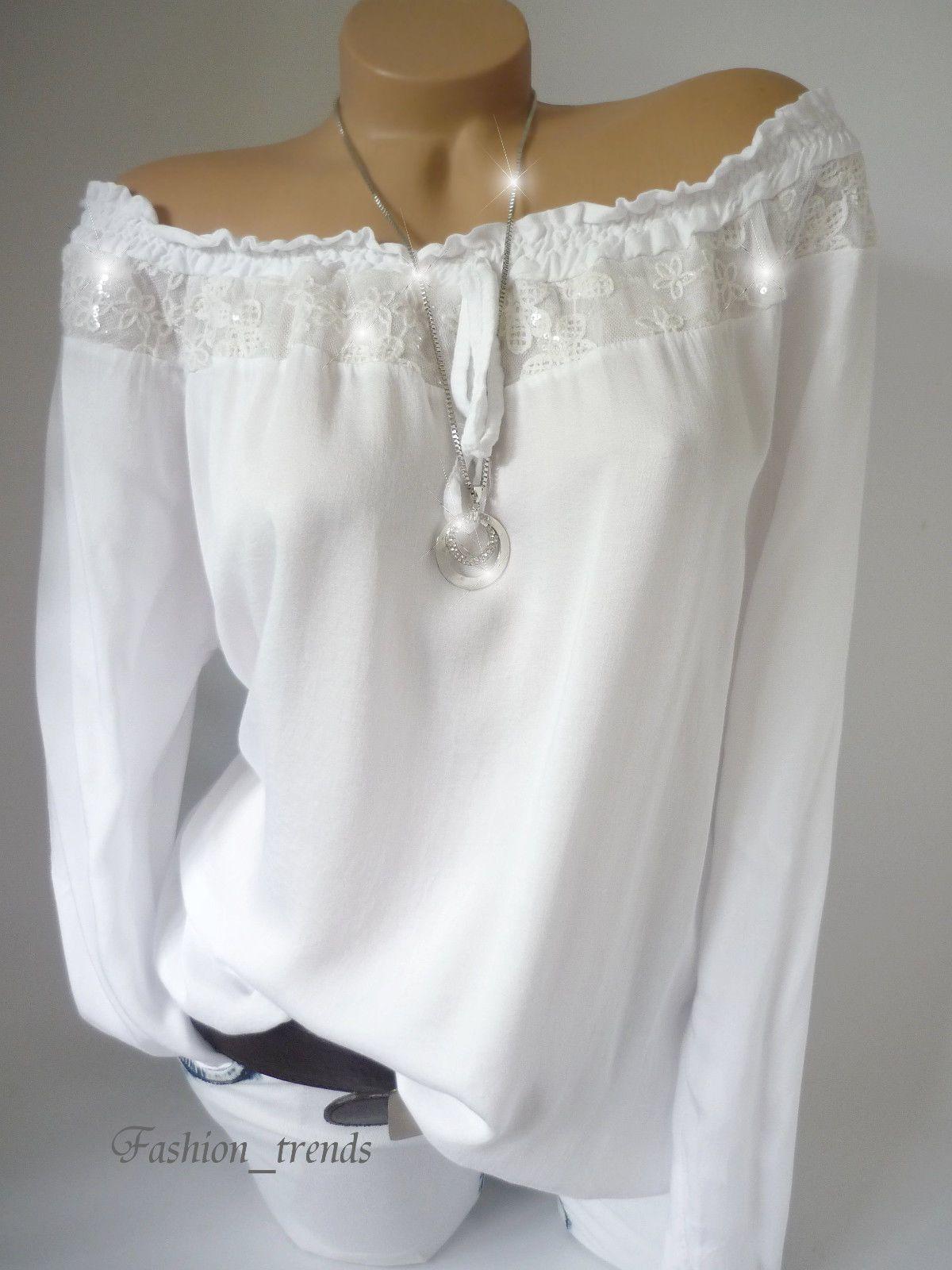 süß heiß-verkaufender Fachmann kostenloser Versand Italy Pailletten Bluse Spitze Carmen Shirt Top Tunika ...