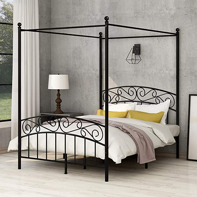 Amazon Com Aufank Full Size Metal Canopy Bed Frame Platform With