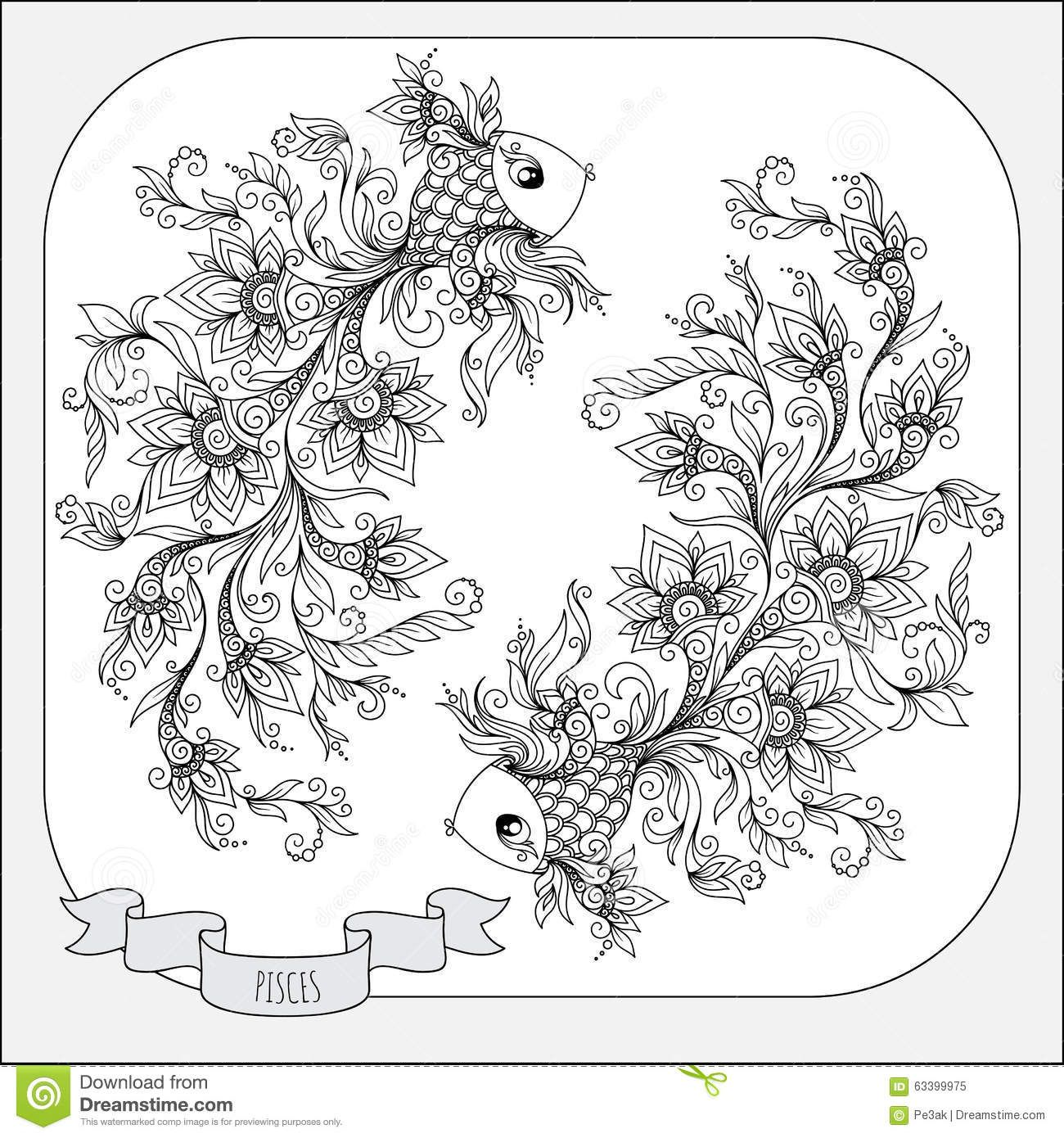 Pisces Coloring Page Pattern For Coloring Book Hand Drawn Line