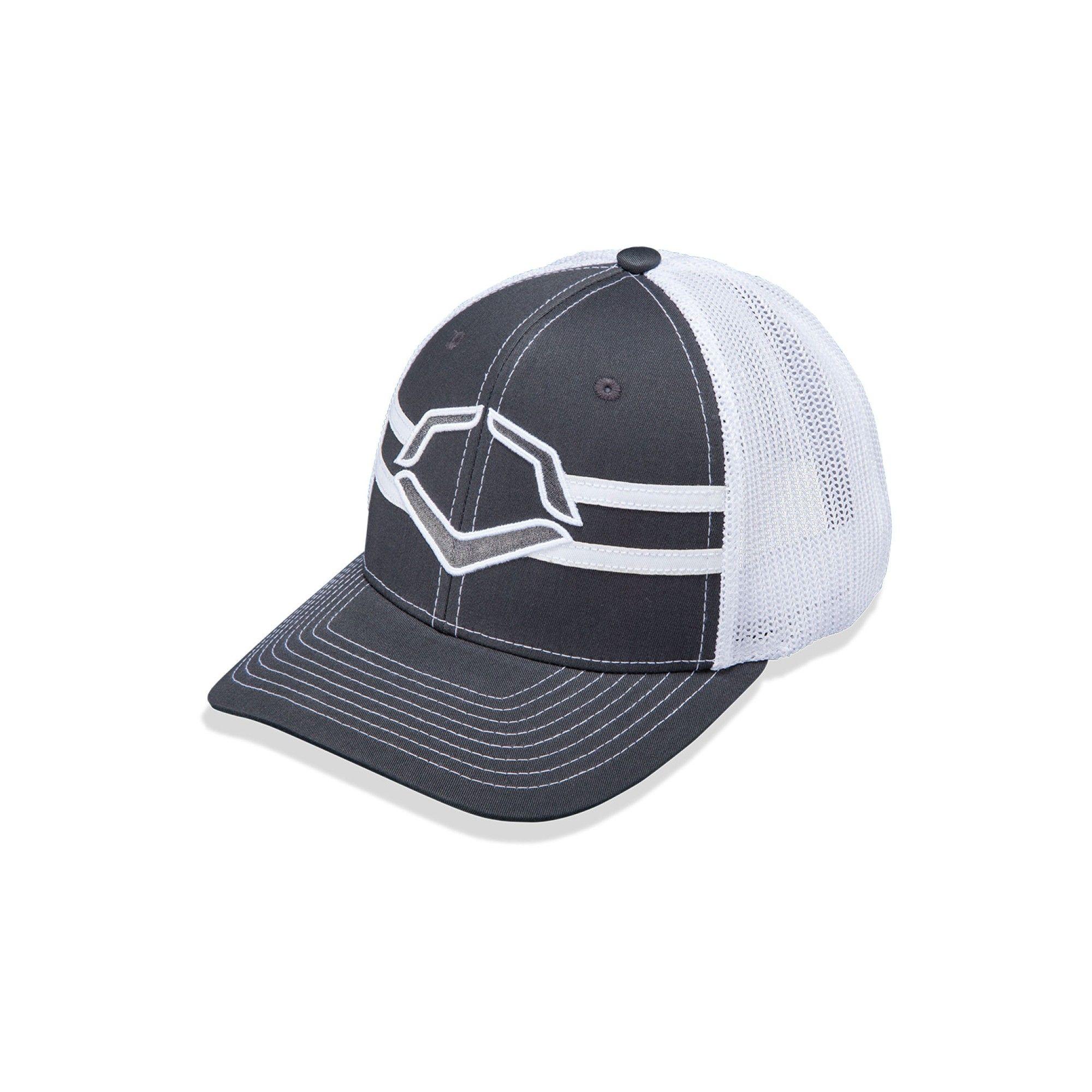 3473ec0f987 Evoshield Grandstand Flexfit Baseball Softball Trucker Hat - Charcoal White  (Grey White) - S M