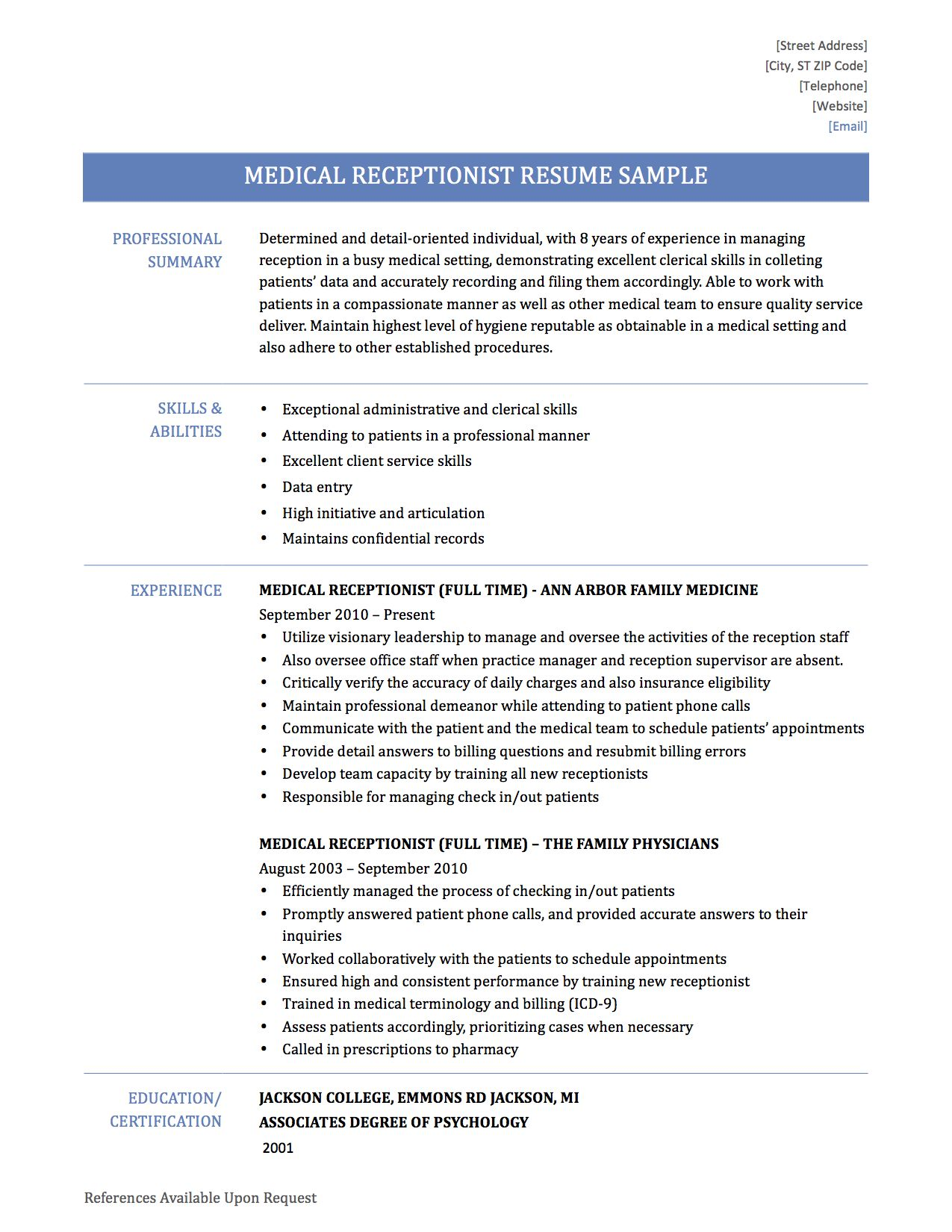 What Medical Receptionist Resume Template Will Also Provide You With Hotel Example Page Medical Receptionist Chef Resume Resume Skills