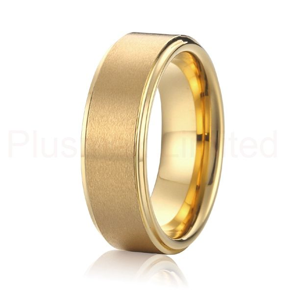 Top Quality Fashion Men S Anium Ring Party Jewelry Gold Color Wedding Band Free Shipping Ryrt008