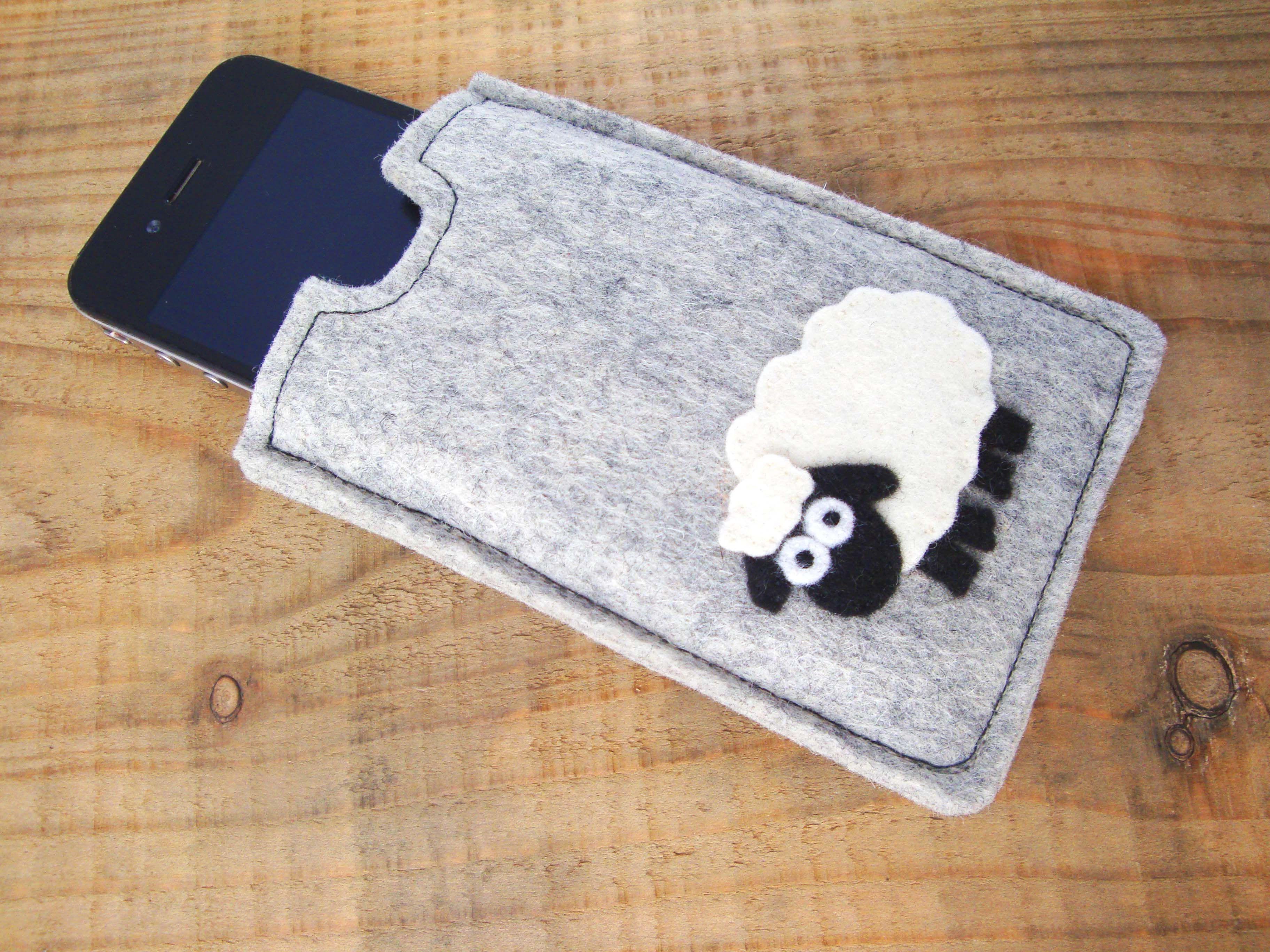 Sheep mobile phone sleeve from BumbleBeasties