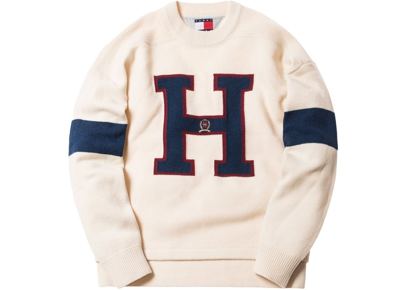 8c5a951c Check out the Kith x Tommy Hilfiger Varsity H Sweater Ivory available on  StockX