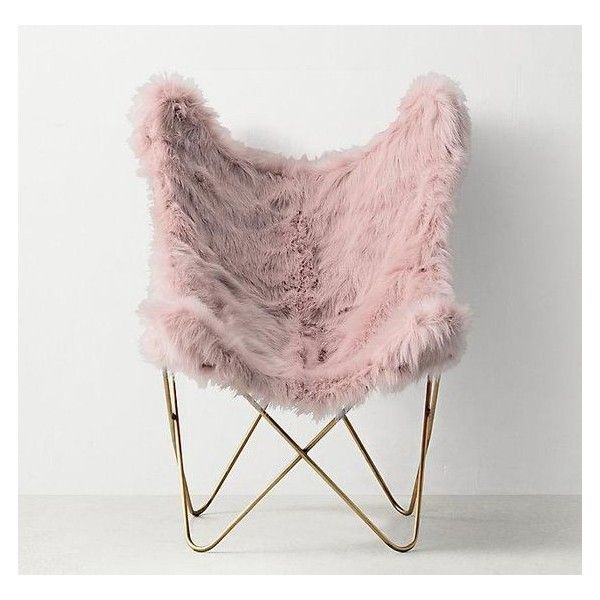 Pink Faux Fur Aged Brass Butterfly Chair Liked On Polyvore Featuring Home Furniture Chairs Butterf Deco Chambre Parental Decoration Deco Chambre