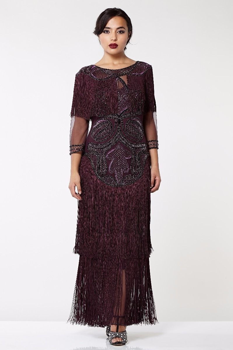 1920s Inspired Evening Maxi Dress in Plum | Evening maxi dresses ...