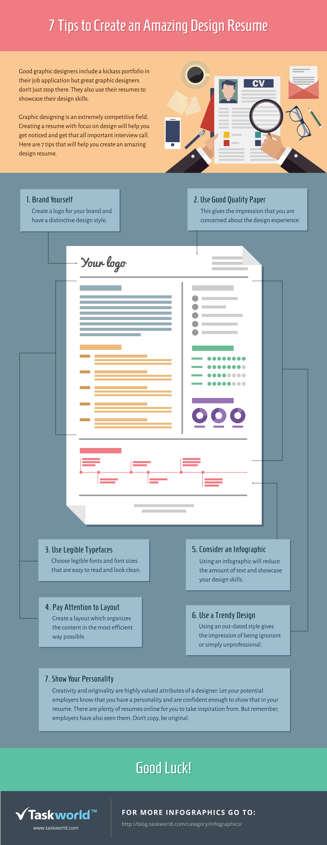 7 Tips to Create an Amazing Design Resume #infographic   Design ...
