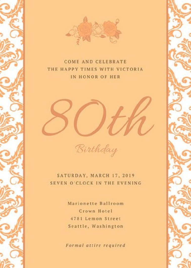 80th Birthday Invitations Templates