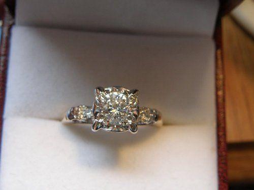 Vintage Illusion Setting Diamond Engagement Promise Wedding Ring Estate