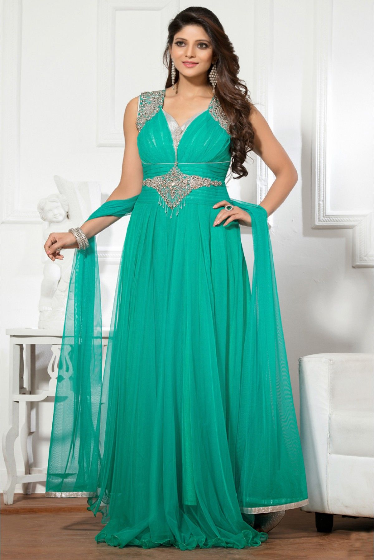 Net and Shimmer Semi Stitched Party Wear Gown In Sky Blue Colour ...