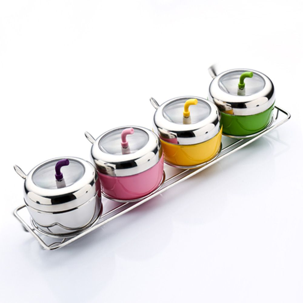 Stainless steel storage containers for kitchen - Stainless Steel Spice Jar Seasoning Box Kitchen Spice Boxes Dispenser Containers For Storage Containers Colorful Apple