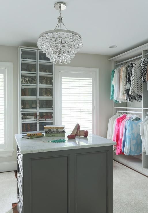 Chic Walk In Closet Features A Robert Abbey Bling