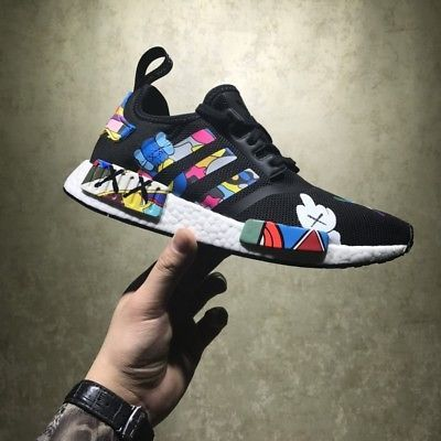 timeless design a9d36 31194 ADIDAS NMD TRIPLE BLACK RUNNER R1 CUSTOM KAWS PAINTED MENS SIZE 7-12UK