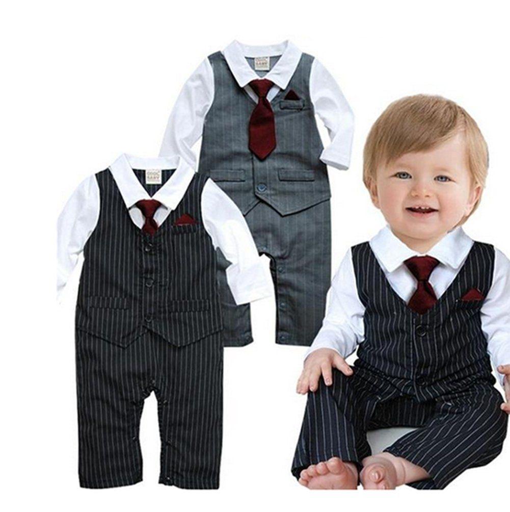 264e10fba2cc0 Handsome Tie Striped Vest Formal Wear Wedding Baby Boy Romper Oneise  (90/12-18 Months, Grey)