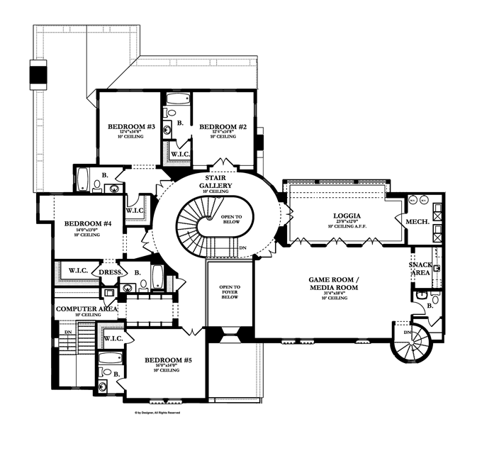 Mediterranean Style House Plan 5 Beds 5 Baths 7363 Sq Ft Plan 1058 19 Mediterranean Style House Plans House Plans Colonial Revival House Plans