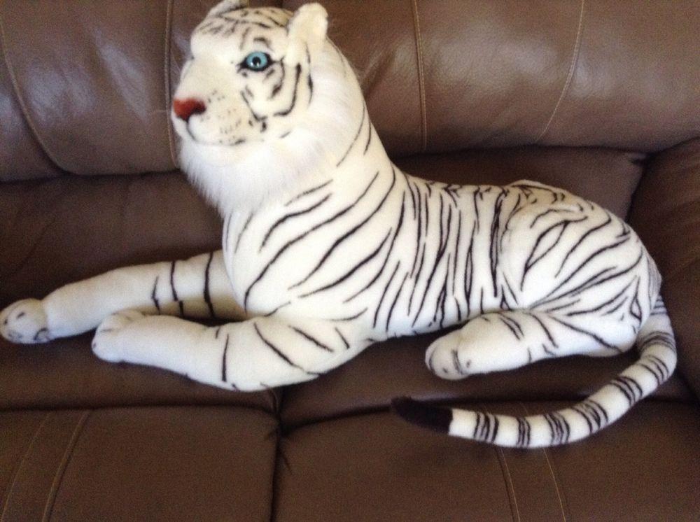Kellytoy White Tiger Stuffed Animal Plush Large Lifelike Size 52
