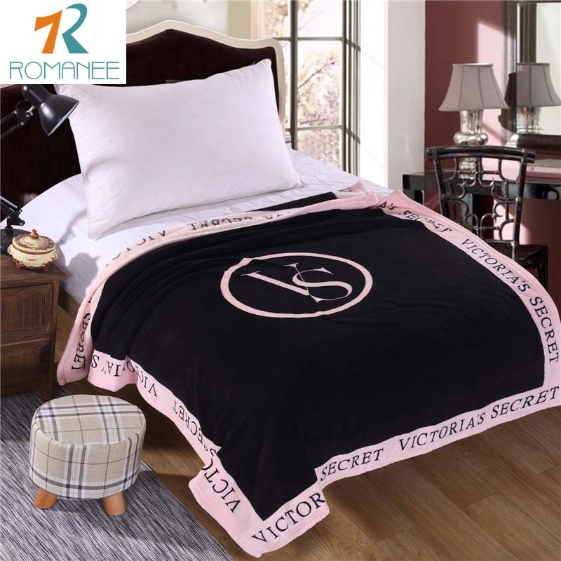 Romanee VS Roze Deken Victoria/'s secret Fleece Beddengoed Gooit op de bed/Bank/Auto Draagbare Plaids sprei Gift Hot koop