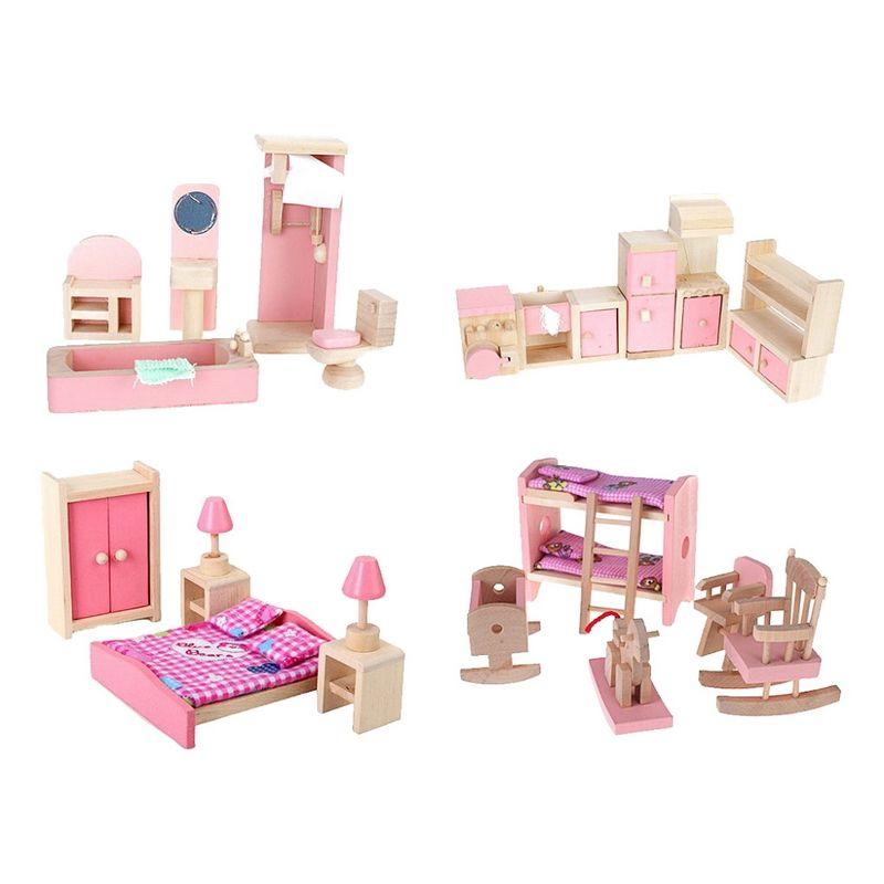 4 Set Dollhouse Furniture Kid Toy Bathroom Kid Room Bedroom Kitchen Set **  Click Image For More Details.