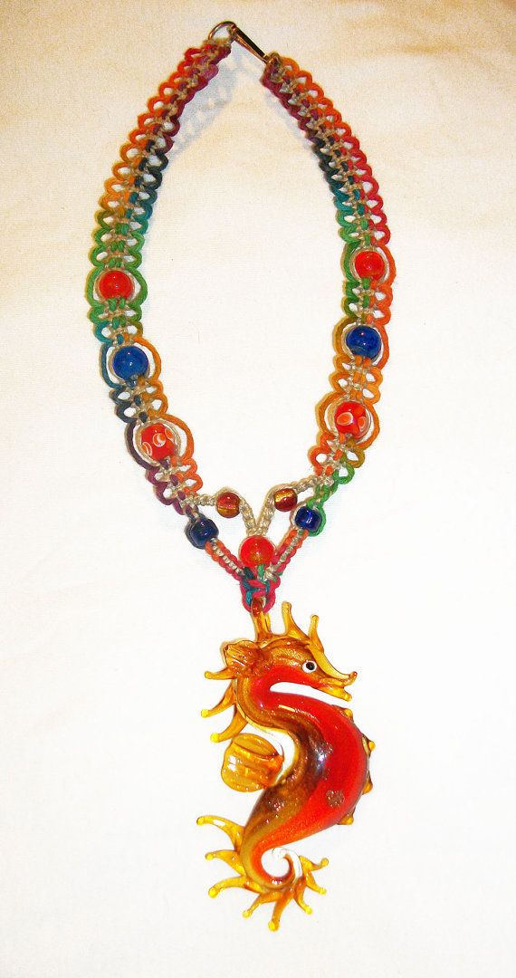 Blown glass seahorse pendant on rainbow hemp necklace lampwork blown glass seahorse pendant on rainbow hemp necklace lampwork glass sea horse hemp jewelry sea dragon serpent mozeypictures
