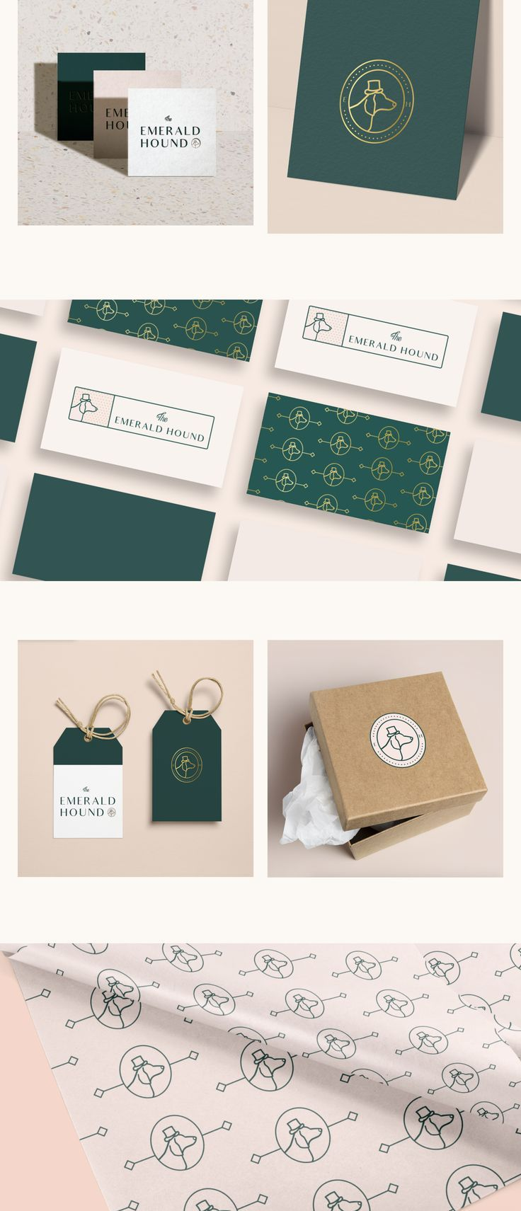 The Emerald Hound is a line of custom paper goods dedicated to incorporating a couple's pet into their wedding day. We worked to bring The Emerald Hound's quirky and fun brand to life through a full brand identity design, including a custom pattern design and print collateral. | feminine brand design, design inspiration #branding #designinspiration