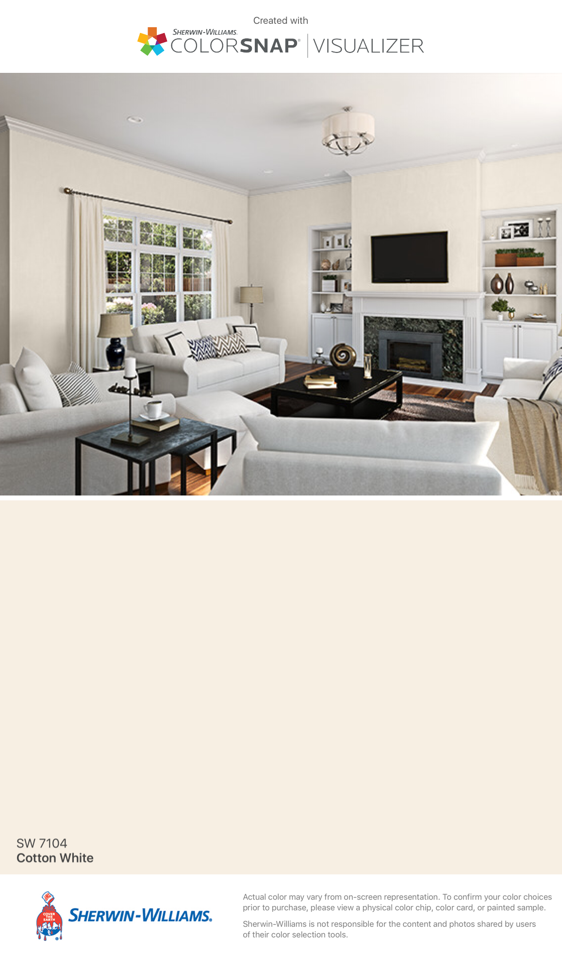 I found this color with colorsnap visualizer for iphone for Sherwin williams cotton white