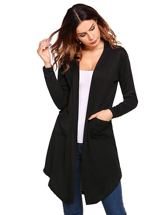 63f24c92b1ff0b Beyove Women's Long Sleeve Asymmetric Hem Open Front Draped Knit Cardigan  with Pocket at Amazon Women's Clothing store: