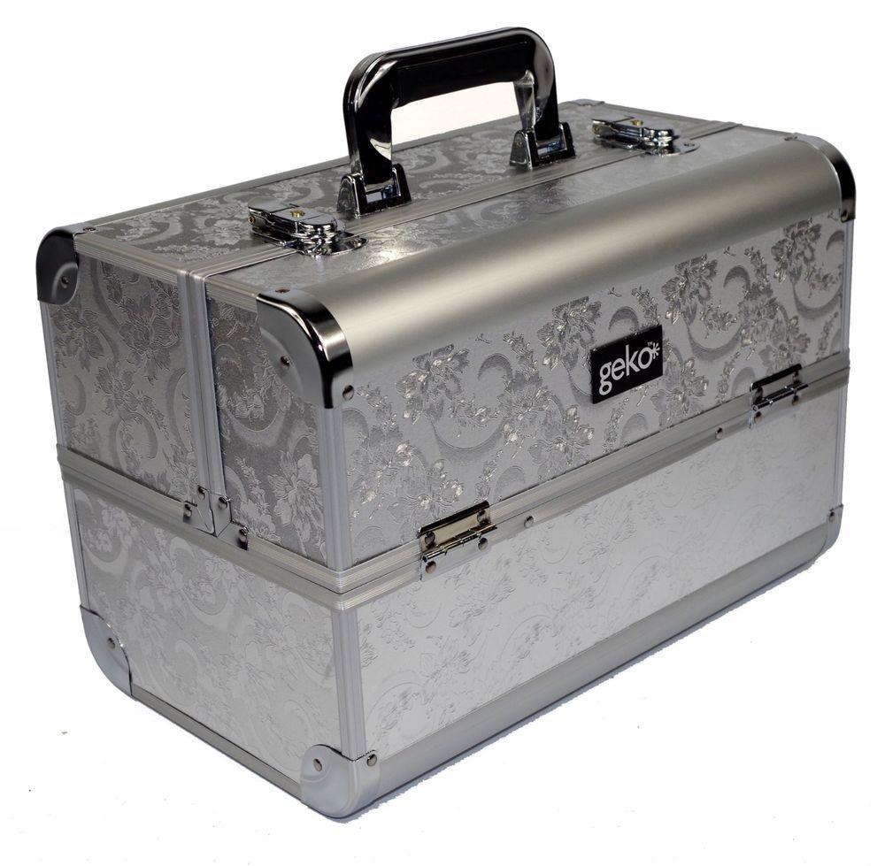 698fb3f75052c5 Vanity Case/Makeup Box Silver Leaf Design Beauty Beautician Storage  Hairdresser | eBay