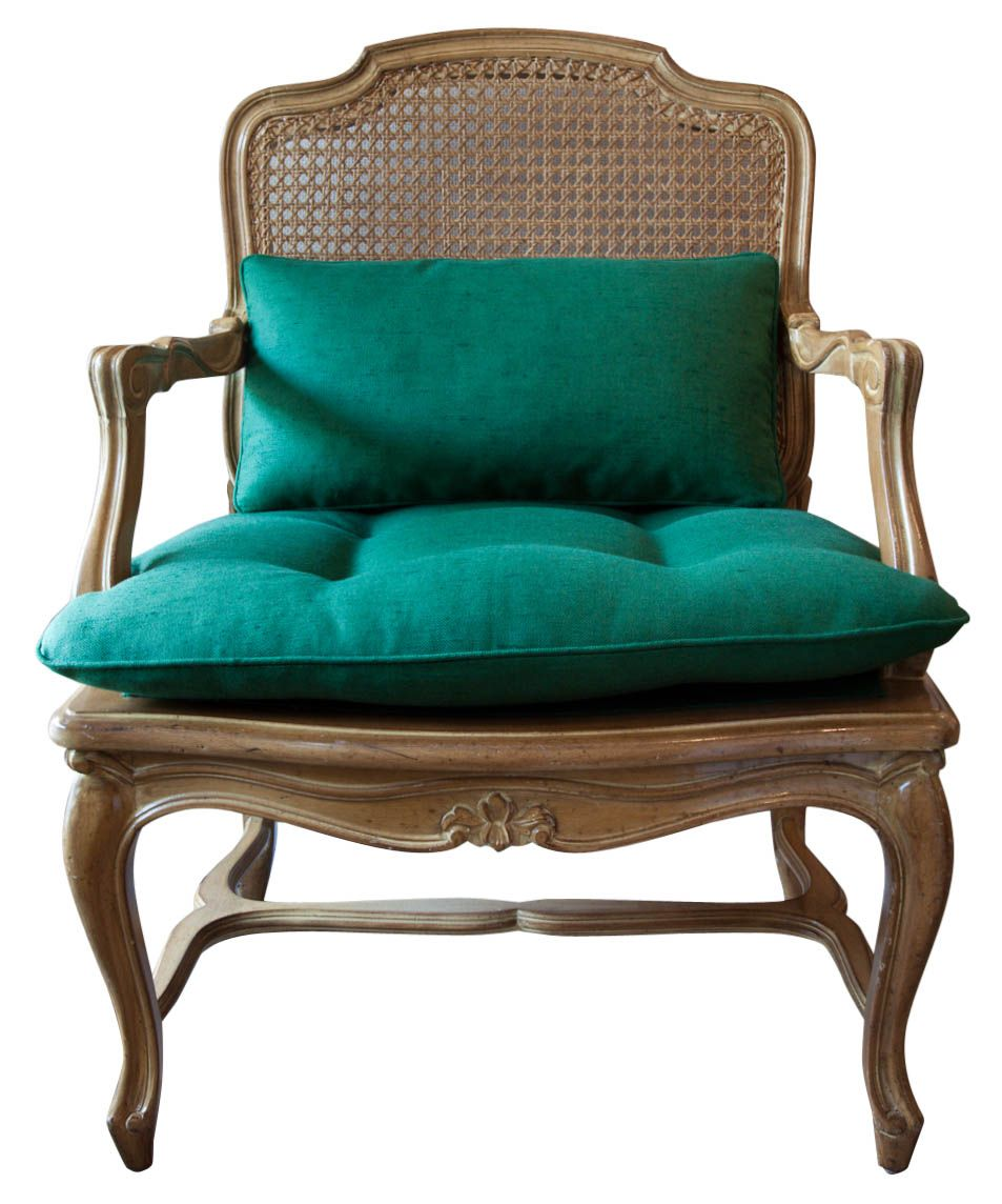 Cane Back Regence Louis Xv Style Arm Chair In Emerald Green