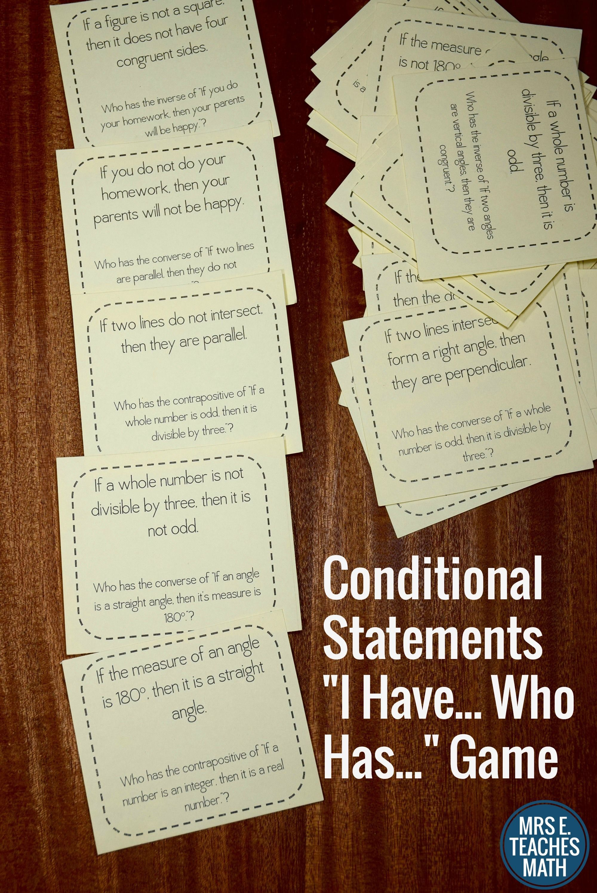 Conditional Statements I Have Who Has Game High School Math