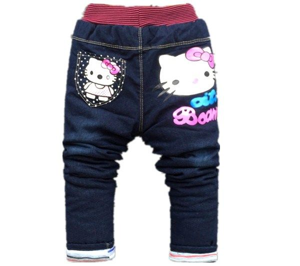 64d5928e6 Winter kids girls jean Hello Kitty pants cashmere pants elastic waist girls  legging Trousers spring children