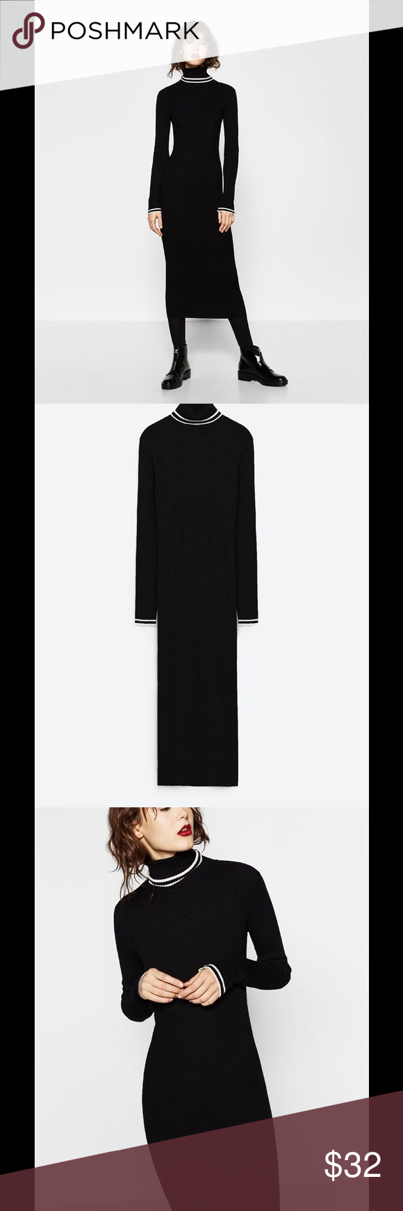 New uczara long stretch ribbed dress black my posh picks