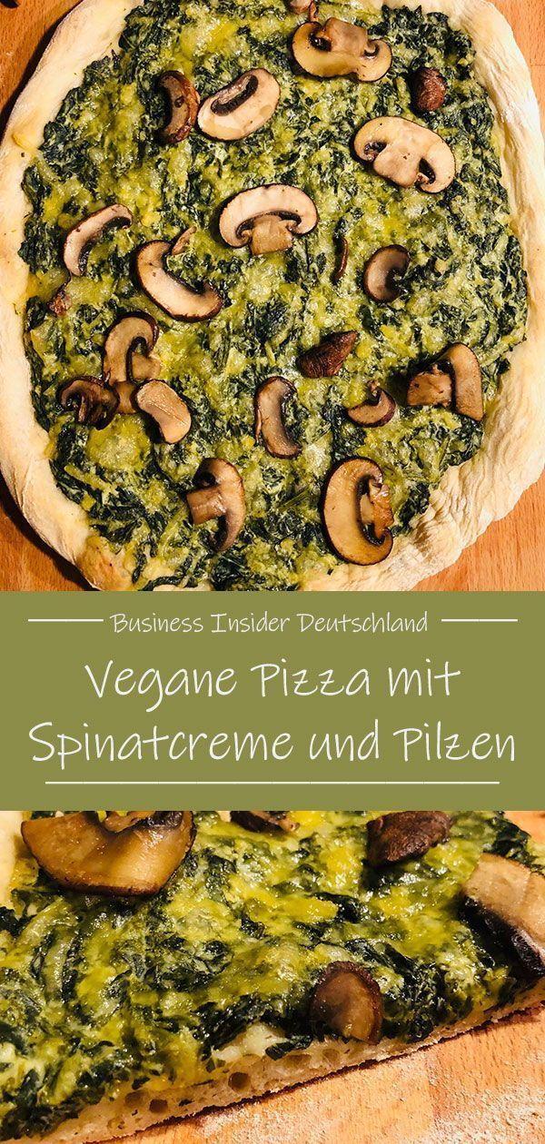 Vegane Pizza mit Spinat und Pilzen — lecker, gesund und komplett vegan