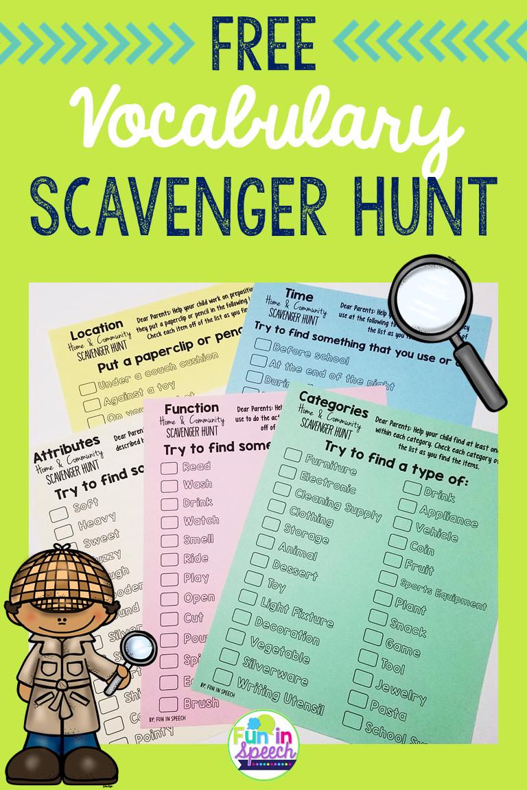 Vocabulary Homework Worksheets - Print & Go Scavenger Hunt - FREEBIE ...