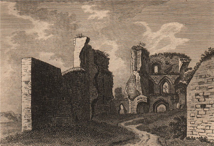 MONMOUTHSHIRE/CASTLES: Abergavenny Castle, Monmouthshire Plate I; Antique 18th century copperplate print, 1776; approximate size 9.5 x 14.0cm, 3.75 x 5.5 inches