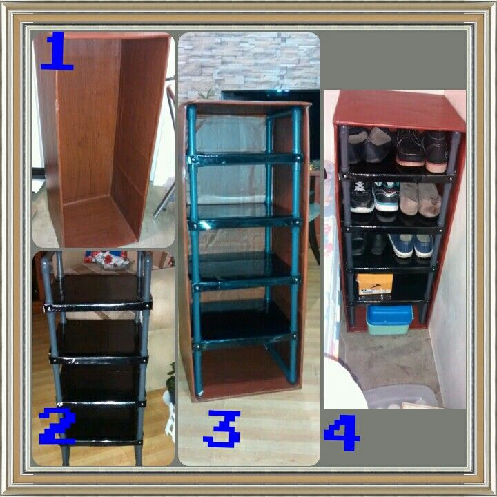 Mueble zapatera con cart n y tubos pvc practico f cil y for Mueble zapatero economico