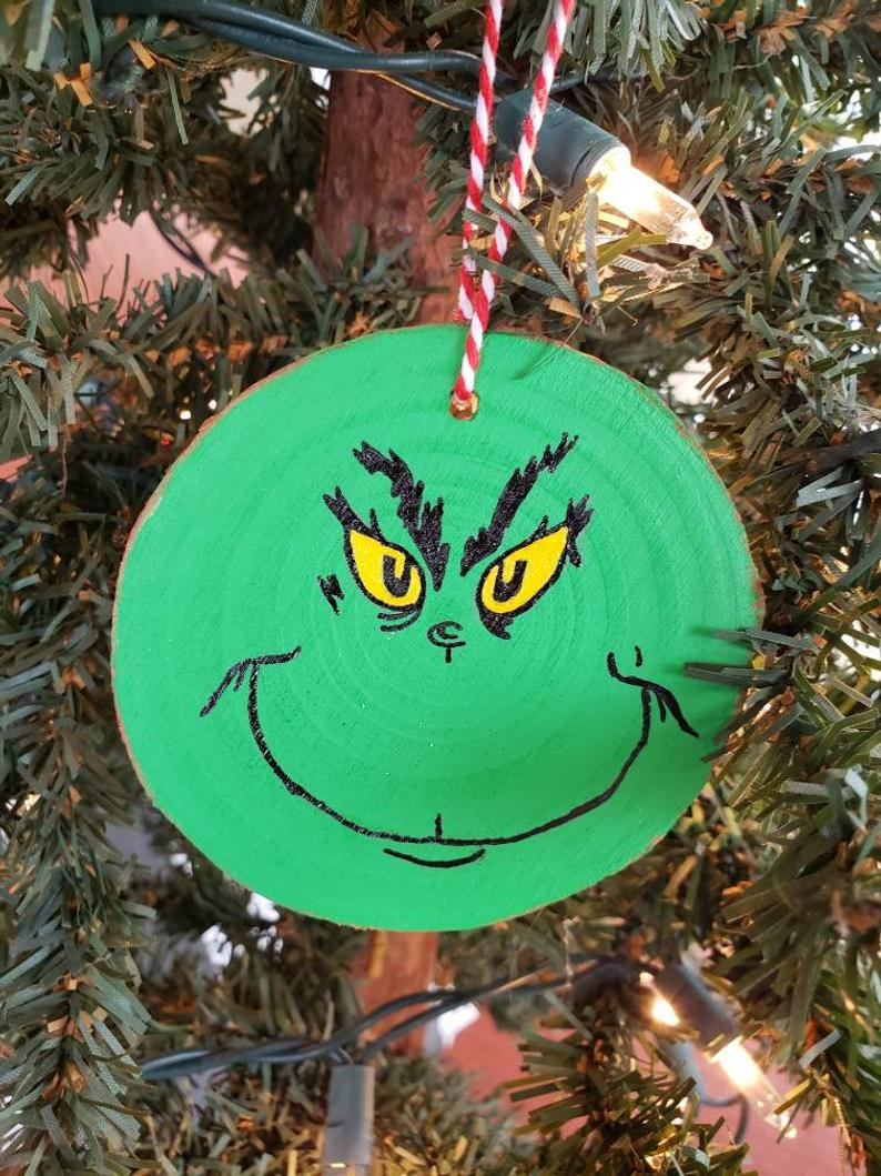 Wooden Grinch Ornament Etsy In 2020 Grinch Ornaments Rustic Christmas Ornaments Diy Christmas Ornaments