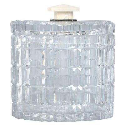 Art Deco Cut Crystal Box with an Ivory Handle