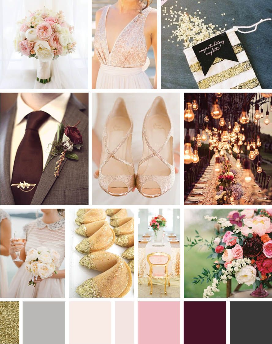 My Wedding Mood Board Rose Gold Blush Burgundy Charcoal Glitter
