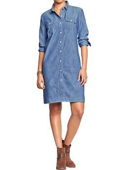 6ea884f6a17 Womens Chambray Shirt Dresses - Old Navy Dresses on a great sale right  now!! Some super cute stuff! 8 28 14