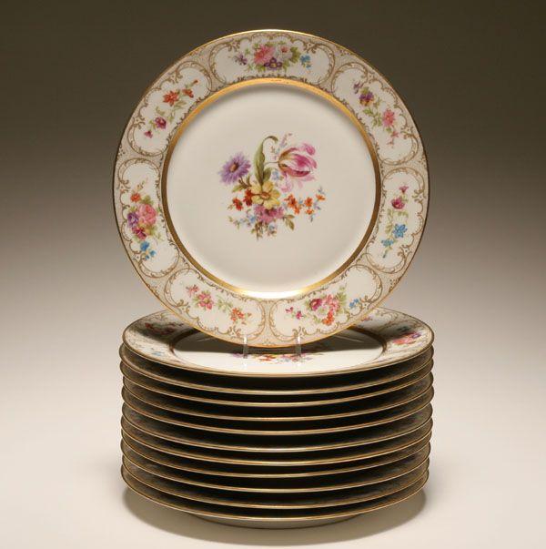 Limoges china Dresden Flowers dinner plates; & Set of 12 Wm Guerin \u0026 Co. Limoges china Dresden Flowers dinner ...