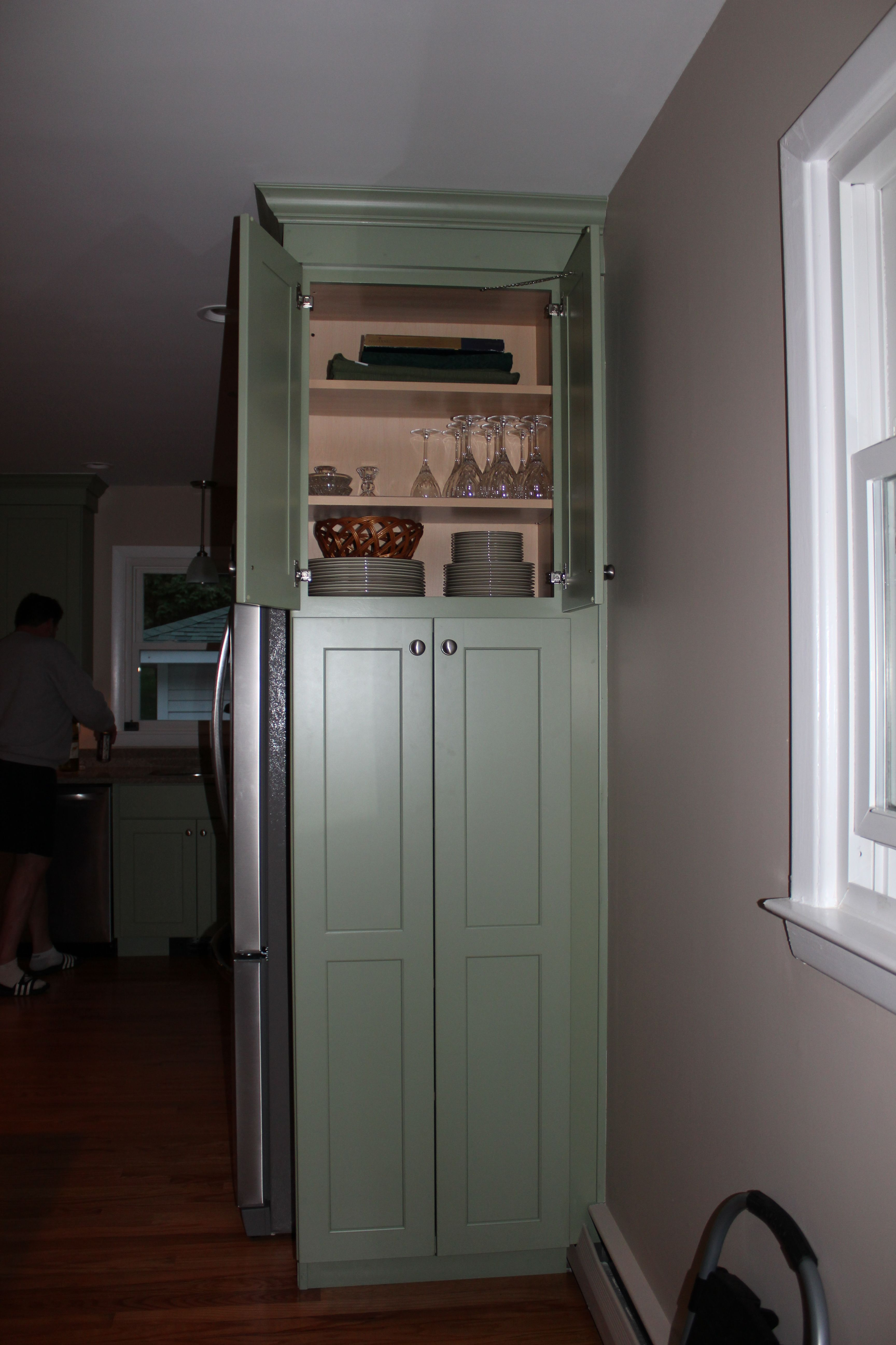 Kitchen cabinet on side of refrigerator so it's in the ...