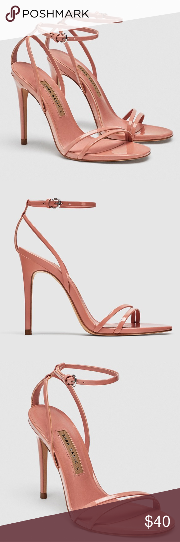 dddf03fcc147 ZARA LAMINATED PINK HIGH-HEEL STRAPPY SANDALS Used once. Zara LAMINATED  HIGH-HEEL