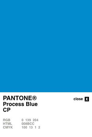 Pantone Process Blue Coated Converted to CMYK and RGB