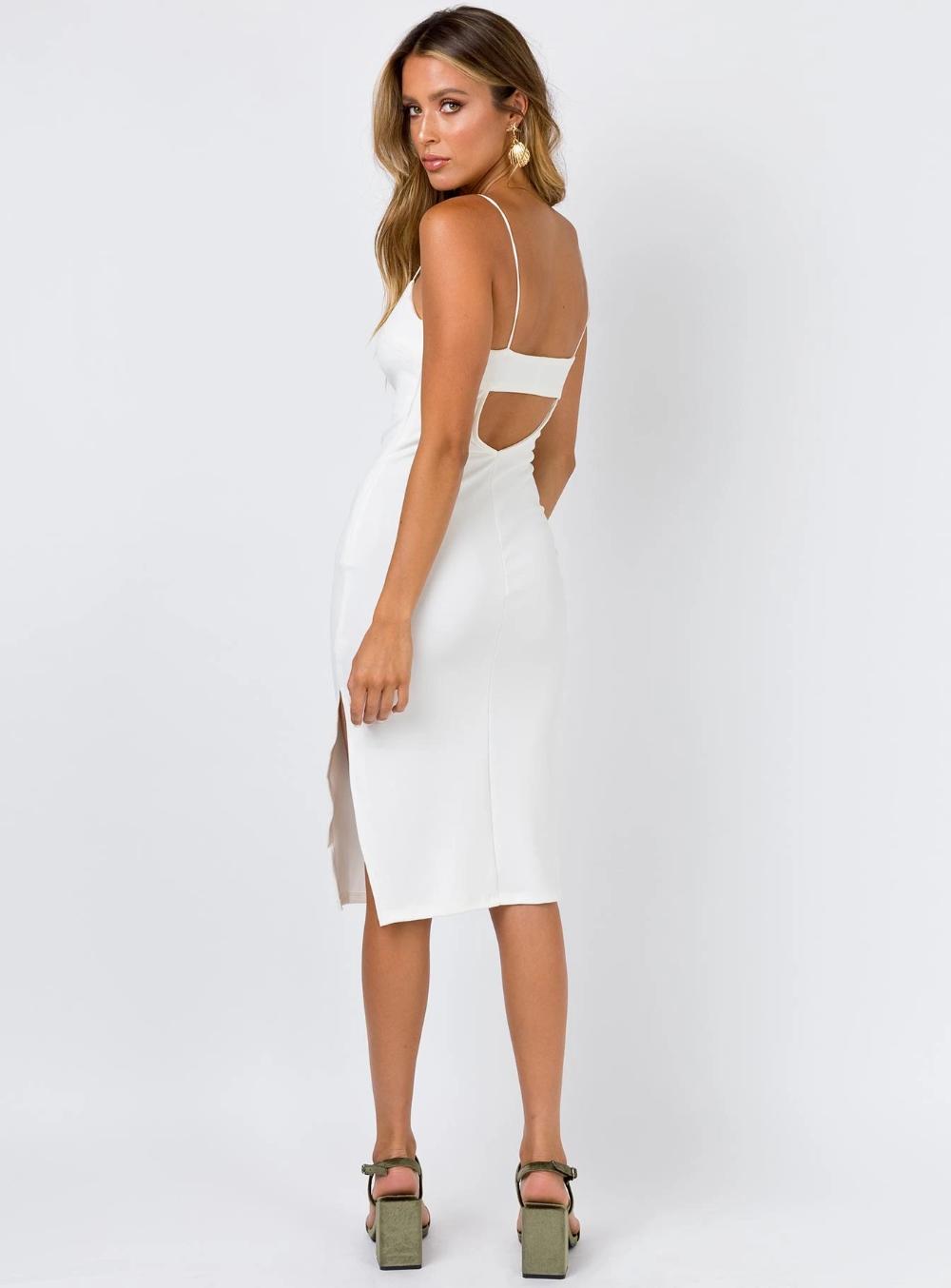 Kiana Midi Dress White White Short Dress White Midi Dress White Dress [ 1354 x 1000 Pixel ]
