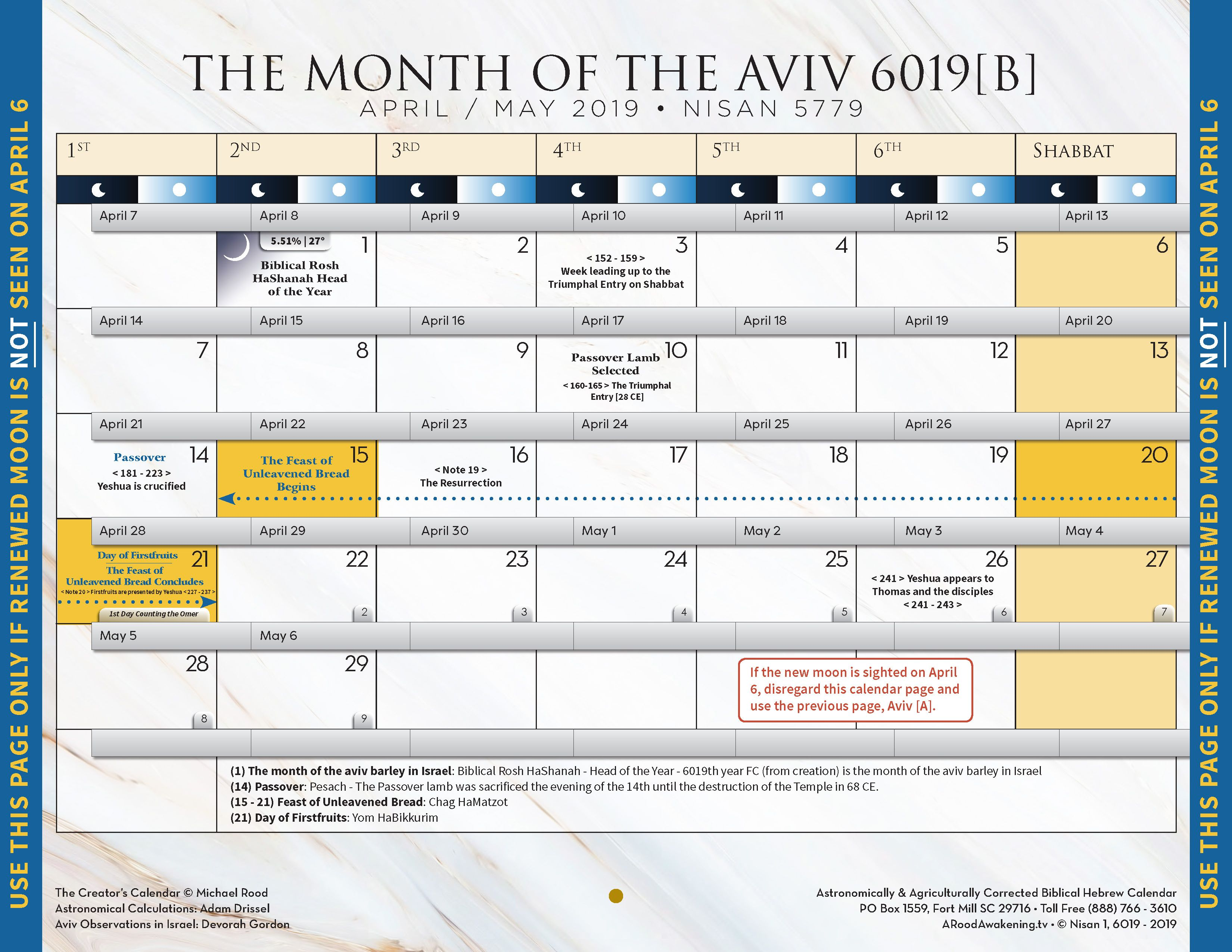 THE MONTH OF THE AVIV 6019 - APRIL / MAY 2019 - NISAN 5779