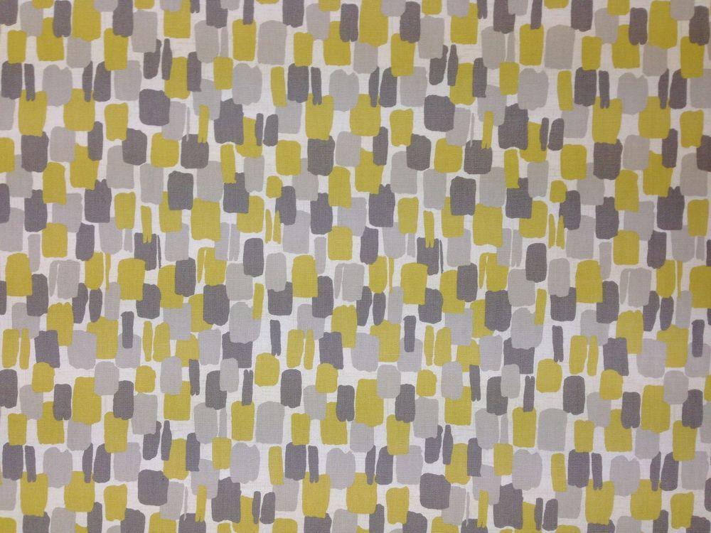 Clarke & clarke sundowner chartreuse yellow grey retro curtain ...