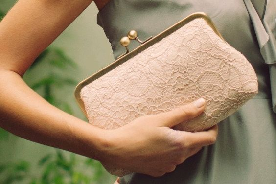 Bridesmaid Gift Idea / Lace Bridal Clutch / Bridesmaid Clutch / Blush Clutch / Wedding Clutch (Antoinette Clutch : Champagne on Blush)